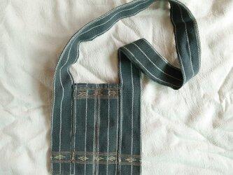 セール価格!カレン族の手織り&草木染めバッグS/ 藍グレー インディゴ/大人・キッズ兼用/手縫い/ ショルダーの画像