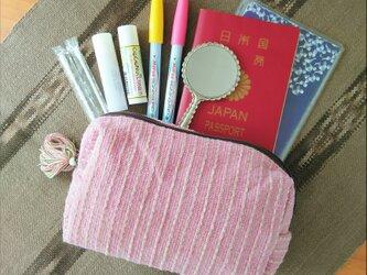 タイの草木染め&手織りポーチ ピンク ストライプ(送料無料、ペンケース)の画像