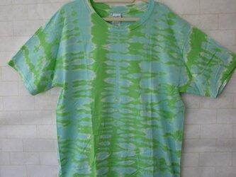タイダイ染め きみどりとエメラルドグリーンの色ぬき、不思議カラーTシャツXLサイズの画像