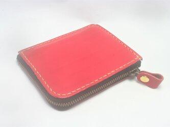 ♪レザー ミニマル 小さい財布 L字ファスナーウォレット カードポケット付 レッド♪の画像