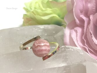インカローズ 指輪 7月誕生石 レア 天然石 一粒 リング ☆ ダイナデザイン ☆ ゴールド カラー 10号の画像