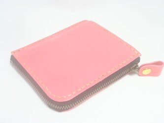 ♪レザー ミニマル 小さい財布 L字ファスナーウォレット カードポケット付 ピンク♪の画像