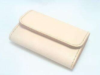 ♪前ポケットにもスッと♪ レザーミニマルウォレット 小さい財布 ナチュラル♪の画像