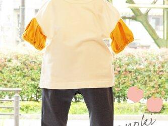 黄色パフスリーブTシャツの画像