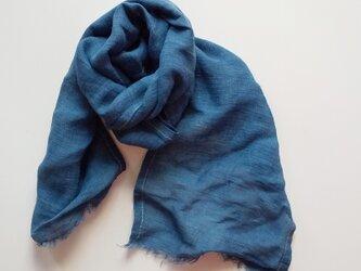 しっとり気持ちいい竹布ミニストール 草木染め マリーゴールド+インド藍染めの画像