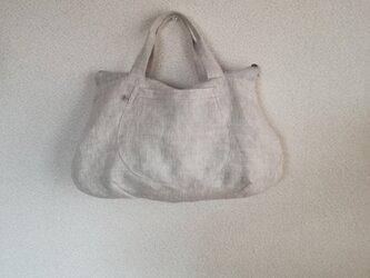 Linen・リネン・手提げファスナーBag・natural color(再販)の画像