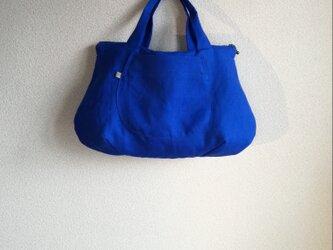 Linen・リネン・手提げファスナーBag・Blue(再販)の画像
