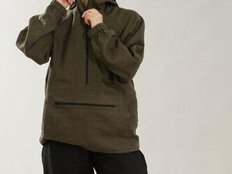 【wafu】中厚 リネン100% マウンテンパーカー 男女兼用 アノラック フード パーカー / カーキ h053b-khk2の画像