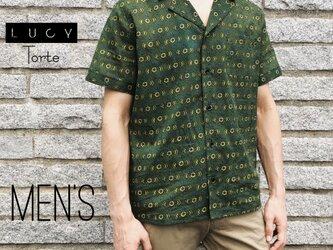 《Men's》オープンカラーシャツ【GREENフラワー】の画像