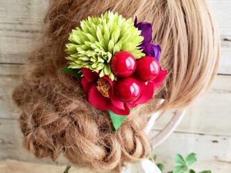花funwari 紅椿とポンポンマムの髪飾り クリップピンタイプNo585の画像