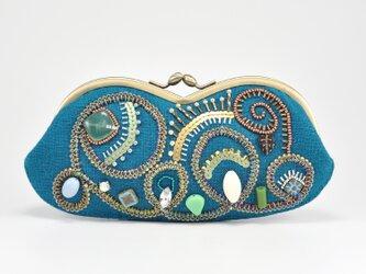 ふたこぶビーズ刺繍の眼鏡ケースがま口 sparkle 1の画像