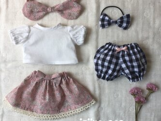 5点セット☆ブラウス、スカート、かぼちゃパンツ、リボン2つの画像