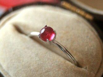 ルビー*4mm大粒宝石質天然石シルバーリングの画像