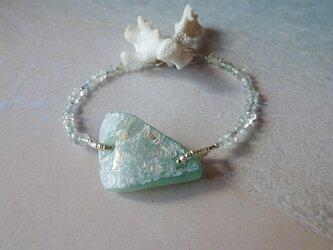 *sv925*ローマングラス Ancient Roman Glass  Blacelet アンティーク/アクアマリンの画像