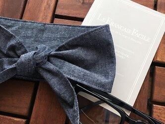 保冷剤 タンガリー ネイビー 綿100% 節約 快適 エコ 夏 スカーフ ネッククーラーの画像