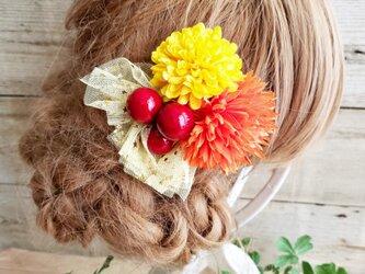 花funwari  ポンマムとチュールの髪飾り クリップピンタイプNo588の画像