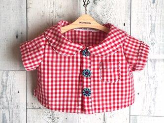 ダッフィーサイズのお洋服 ギンガムチェック半袖シャツの画像