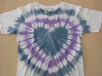 タイダイ染め さわやかブルーのハート♥Tシャツの画像