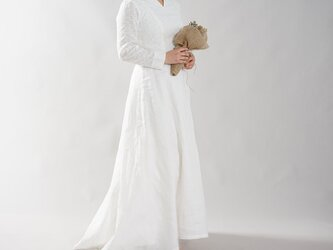【wafu】リネン100% ウエディングドレス リネンドレス  結婚式 ブライダル 長袖 / ホワイト a092a-wht2の画像