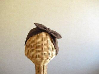 リボンのヘアバンド チョコレート、ダブルガーゼの画像