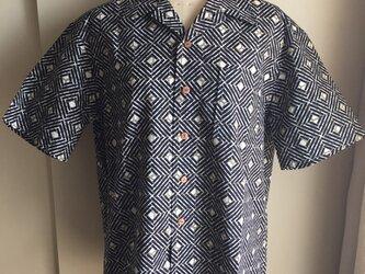 浴衣シャツ(メンズ向け・Lサイズ)亀甲×あじろ柄の画像