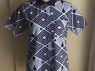 浴衣の丸襟シャツSサイズ(菱形&円)の画像