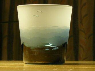 *少々難あり*あさなぎ 冷茶・冷酒グラス 浅葱色の画像