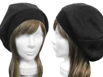 透かし織コットンニット/リブ付ベレー帽(ゆったり)◆チャコールグレーの画像