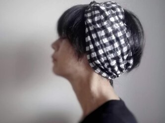 ターバンなヘアバンド ギンガムチェック 送料無料の画像