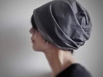 ターバンな帽子 プチドット+グレー 送料無料の画像