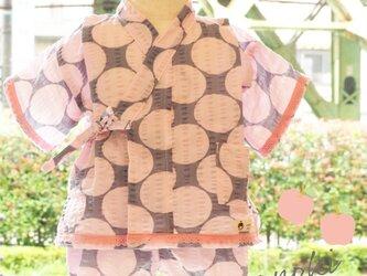 ドット柄♡涼しい夏 ベビー甚平セット(ピンク)の画像