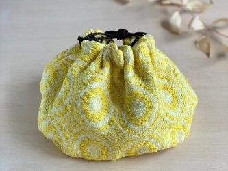 レトロ 手織りショルダーバッグ イエロー コットンの画像