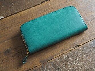 イタリアンレザーのラウンドファスナー財布(グリーン)の画像