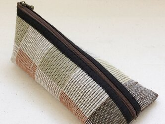 裂き織り ペンケース(ブロックチェック柄)の画像