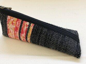 裂き織り ペンケース(黒×赤系)の画像
