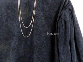 19n020【送料無料】エレガントな2連ステンレスロングネックレス  ホムポムの画像