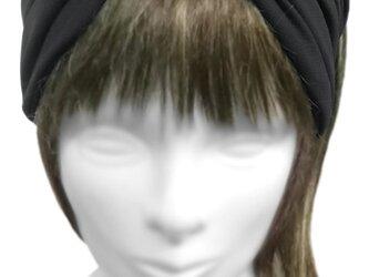 ワイドヘアバンド◆吸発汗スポーツニット/ブラックの画像
