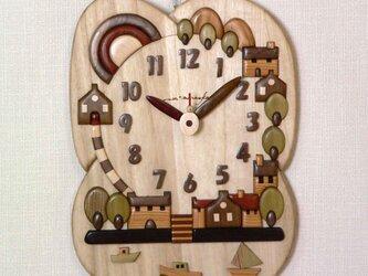 Woody picture & clock  プロバンス 港の見える街  <注文制作>の画像