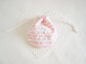 かわいいレースとお花を付けたエレガントミニ巾着(ピンク)の画像
