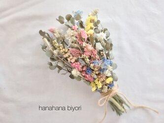 ピンク色のチドリソウと小花のブーケ・スワッグ ※ラッピングは別途ご購入お願いしますの画像
