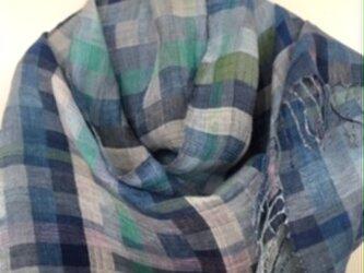 ◆手織/リネン(亜麻)極細単糸ストールの画像