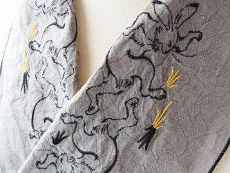鳥獣戯画のウサギ半衿の画像
