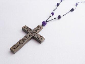 【彫刻】【漆】ペンダント 十字架 の画像