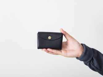 イタリア製牛革のミニ財布 / ブラックの画像