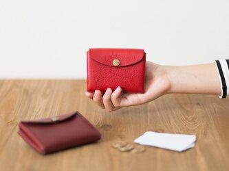 イタリア製牛革のコンパクト財布 S / レッド※受注製作の画像