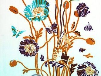 型染めてぬぐい「花の森のチョウ」(ミントグリーン)(綿100%・手染め捺染)の画像