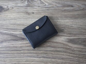イタリア製牛革のコンパクト財布 M / ブラック※受注製作の画像