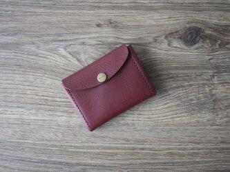 イタリア製牛革のコンパクト財布 M / ワイン※受注製作の画像