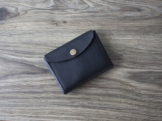 イタリア製牛革のコンパクト財布 L / ブラック※受注製作の画像