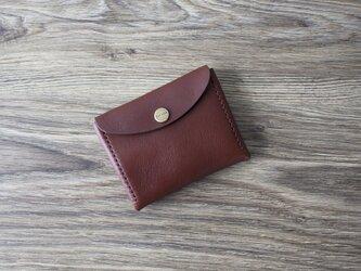 イタリア製牛革のコンパクト財布 L / ダークブラウンの画像
